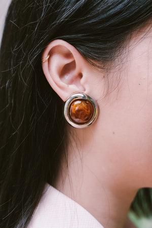 BURNT SIENNA RESIN CLIP-ON EARRINGS