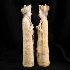 pair chinese ivory emperor and empress