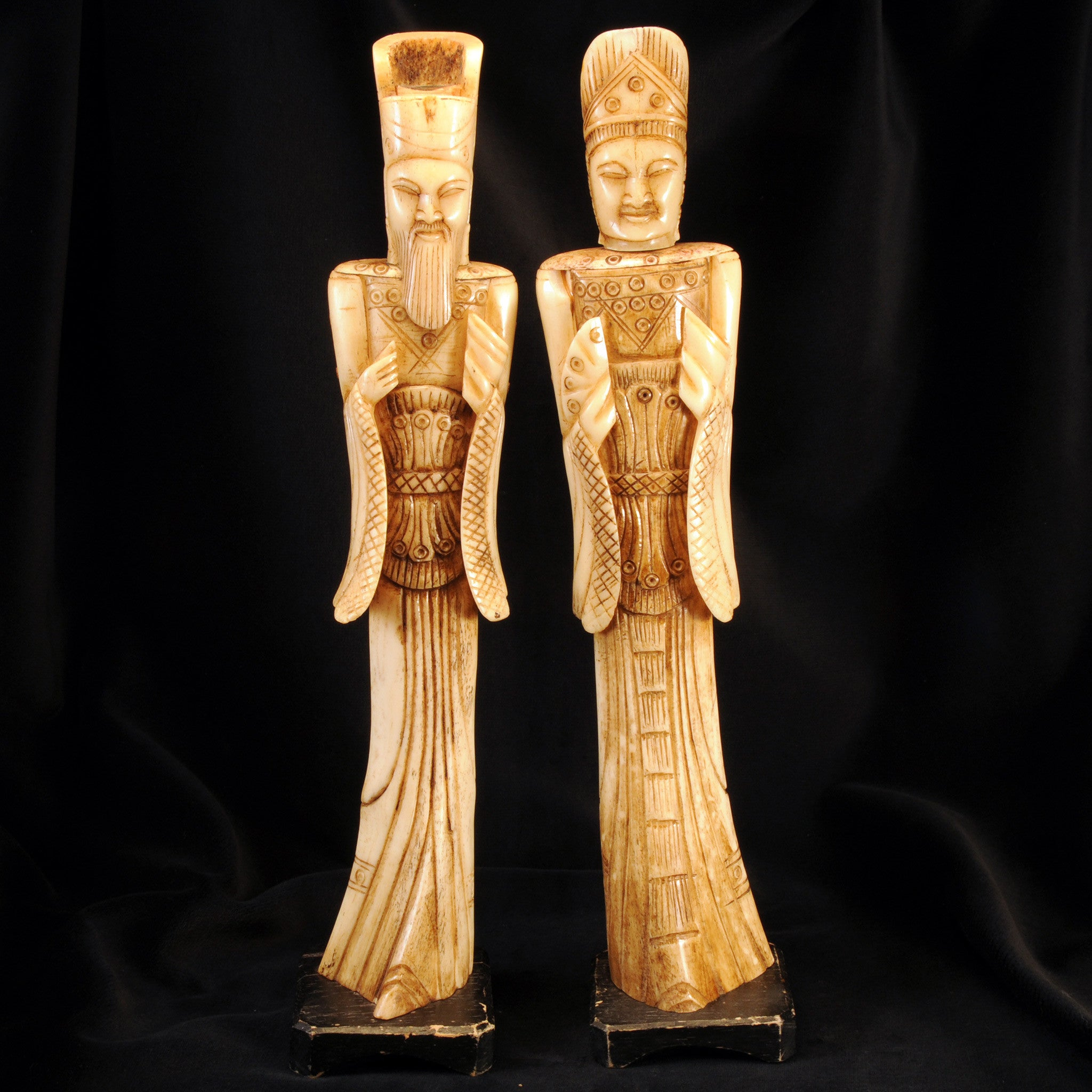 Pair Of Chinese Carved Bone Emporer And Empress Figurines Katoomie