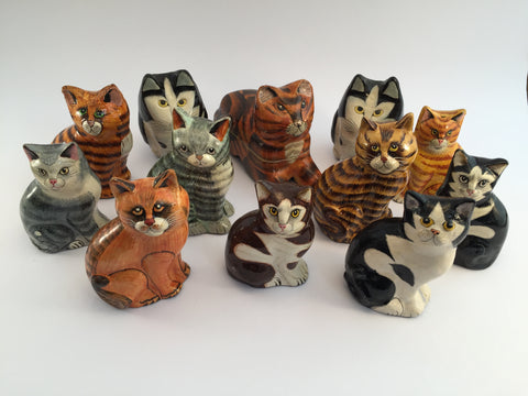 A family of wonderfully painted, coloured and detailed cats. Made in India