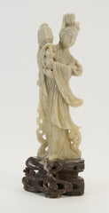 carved soapstone lady holding basket lamp 020