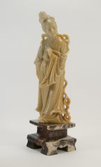 carved soapstone lady holding fan 010