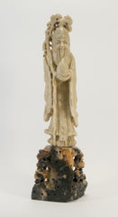 carved soapstone wiseman holding peach staff 050