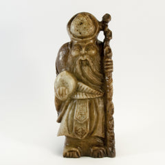 carved soapstone wiseman holding peach staff 040