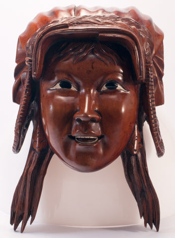 carved wood indian female face