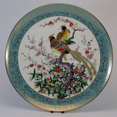 chinese decorative blue peacock plate