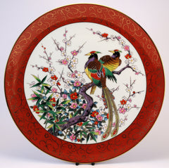 chinese decorative red peacock plate