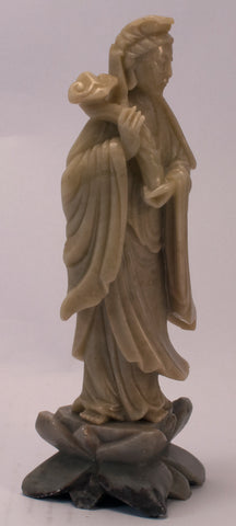 chinese soapstone carving lady staff