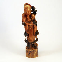 chinese soapstone happy man with boy 1