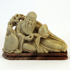 chinese soapstone resting bearded man boy peach 1