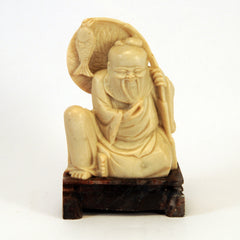 chinese soapstone sitting bearded man fish 1
