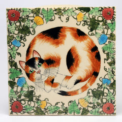 Decorated Ceramic Tiles Cat in flowers by Florian