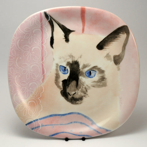 Decorative Cat Plate  Collection Coeur Minou ettes by C. Pradalie  Siamese