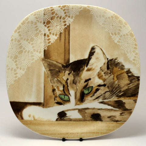Decorative Cat Plate  Collection Coeur Minou ettes by C. Pradalie  window cat