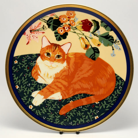 Decorative Cat Plate, Seated Ginger cat under flowers