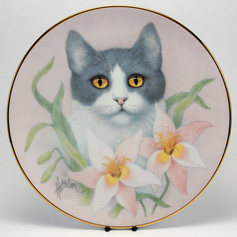 Decorative Cat Plate, HC  Pink Lilies