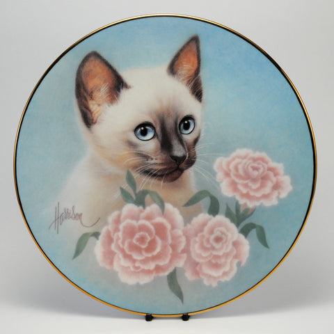 Decorative Cat Plate, HC  Siamese Summer