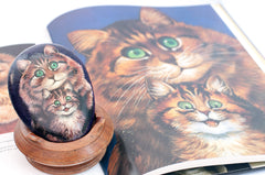 louis wain mother and child painted stone and book 300