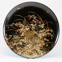 Shibata Japanese decorative black plate dragonflies