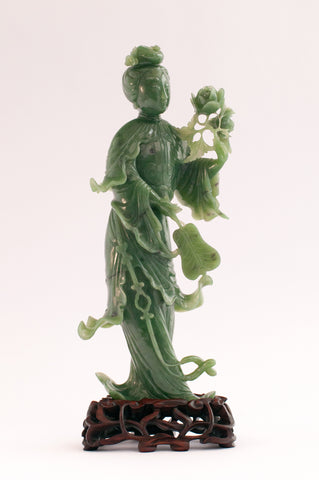 superb jade green lady with fan and flowers 290