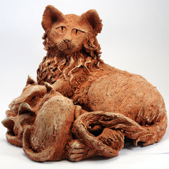 Terracotta textured clay mother cat with sleeping kittens ornament.