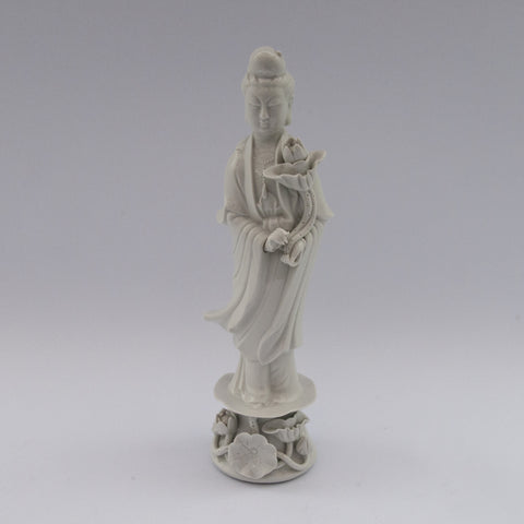white porcelain figurine blanc de chine lady flower