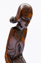 wood carved lady hardwood