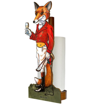Mr Fox (Bryn Parry ) - Printed Wood Toilet Roll / Kitchen Roll Holder.