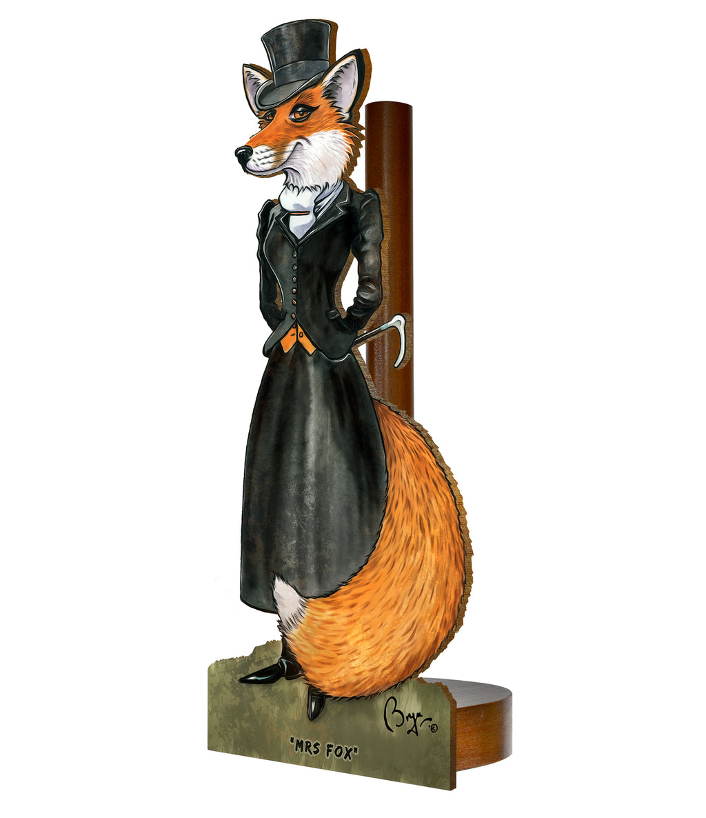 Mrs Fox (Bryn Parry ) - Printed Wood Toilet Roll / Kitchen Roll Holder.