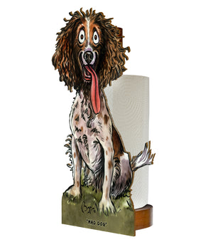 Mad Dog  (Bryn Parry ) - Printed Wood Toilet Roll / Kitchen Roll Holder.