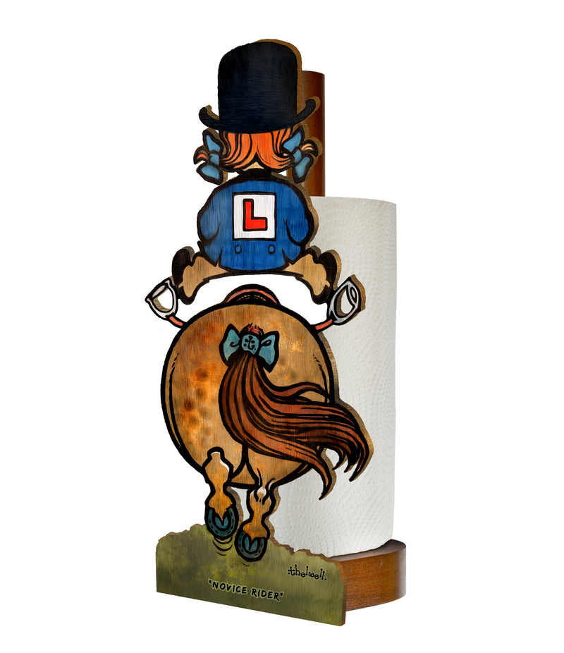 Novice Rider (Normal Thelwell ) - Printed Wood Toilet Roll / Kitchen Roll Holder.