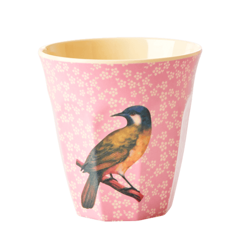Medium Melamine Cup, Vintage Pink Bird Print - Gazebogifts