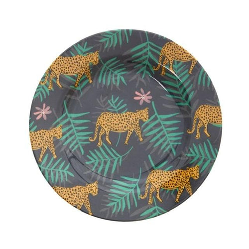 Melamine Plate, Leopards & Leaves Print - Gazebogifts