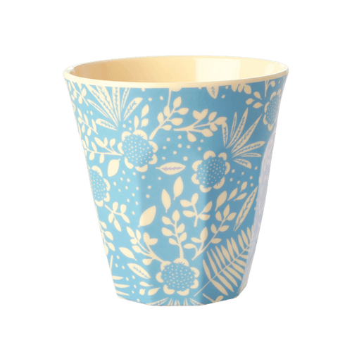 Medium melamine cup, Blue Fern and Flower Print - Gazebogifts