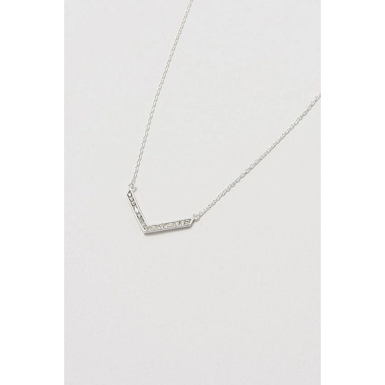 Estella Bartlett Silver Cubic Zirconia V Baguette Necklace - Gazebogifts