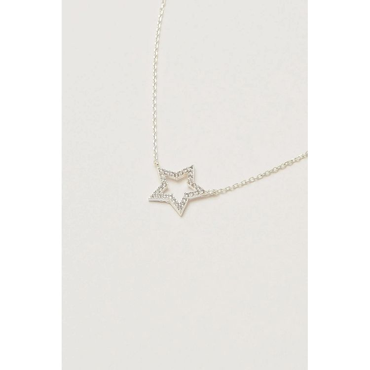 Estella Bartlett Silver Plated CZ Open Star Necklace - Gazebogifts
