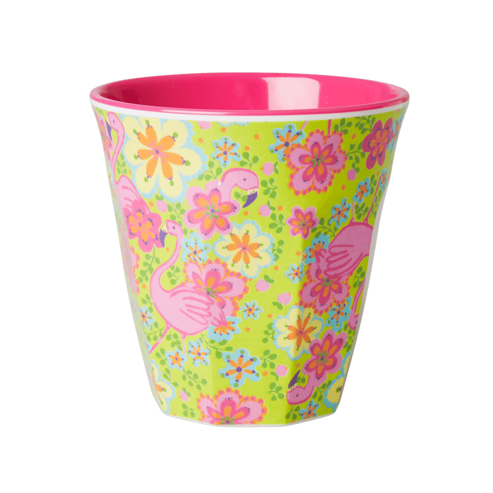 Medium Melamine Cup, Flamingo Print