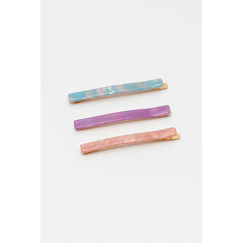 Estella Bartlett Resin Hair Slide Set - Powder Blue, Blush and Purple - Gazebogifts