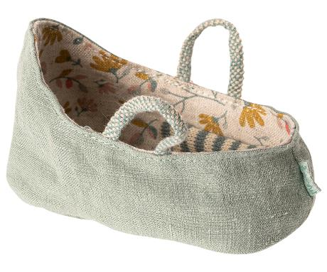 Maileg Carry Cot, My - Dusty Green - Gazebogifts
