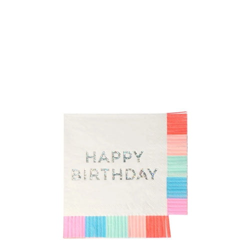 Birthday Fringed Small Napkins - Gazebogifts
