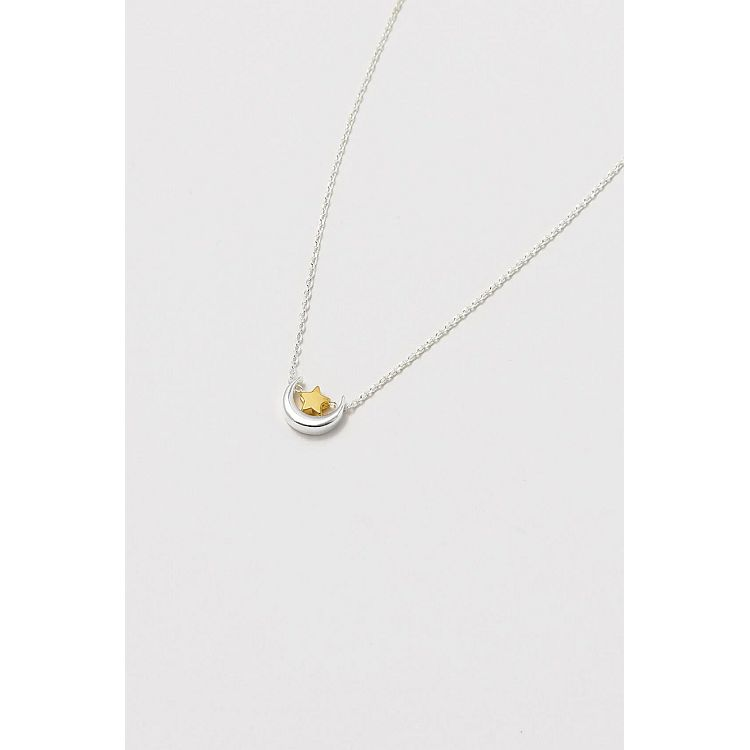 Estella Bartlett Silver and Gold Plated Moon and Star Swinging Necklace - Gazebogifts