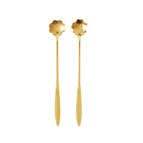 Gold Flower Spoons - Set of 2 - Gazebogifts