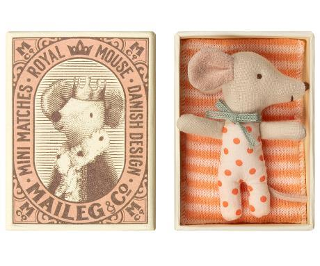 Maileg Baby Girl Sleepy Wakey Mouse in Matchbox