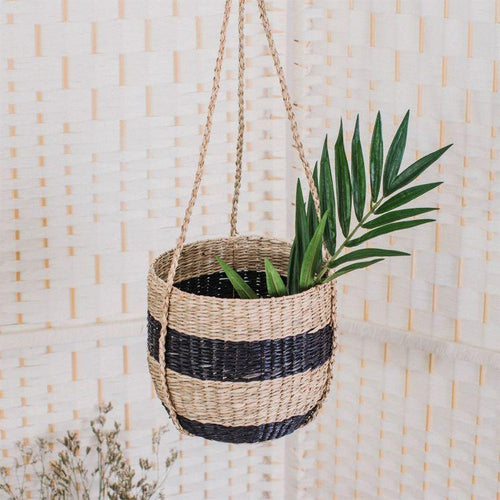 Black Stripe Seagrass Hanging Planter - Gazebogifts