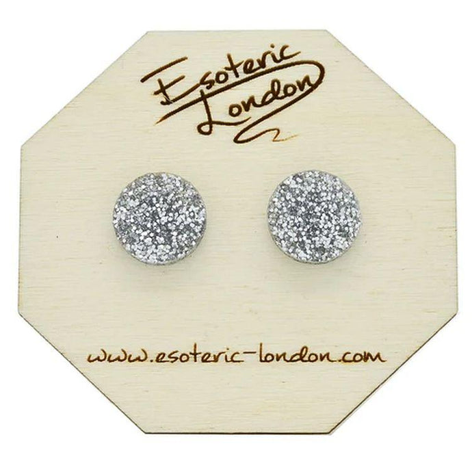 Large Glitter Dot Stud Earrings in Silver - Gazebogifts