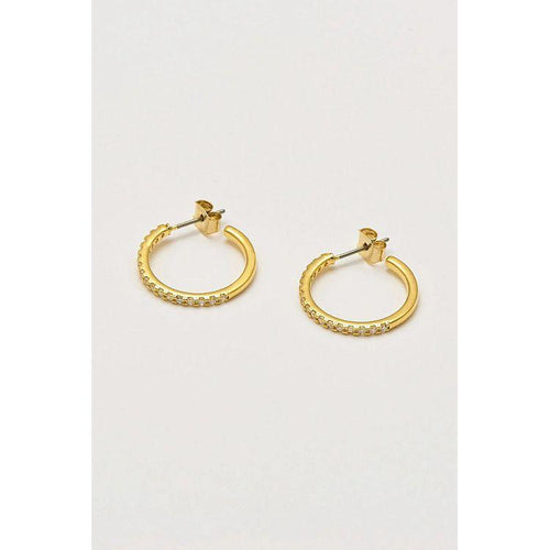 Estella Bartlett Gold Plated Pave Set Large Hoop Earrings - Gazebogifts