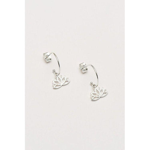 Estella Bartlett Silver Plated Lotus Leaf Drop Earrings - Gazebogifts