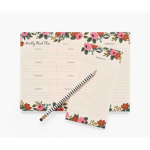 Rifle Paper Co. Rosa Weekly Meal Planner - Gazebogifts