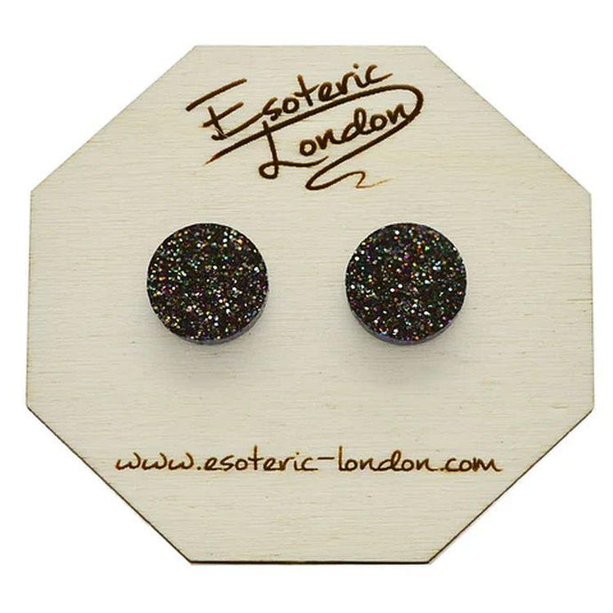 Large Glitter Dot Stud Earrings in Black Rainbow - Gazebogifts