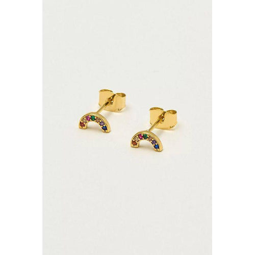 Estella Bartlett Gold Plated Mini Rainbow Stud Earrings - Gazebogifts